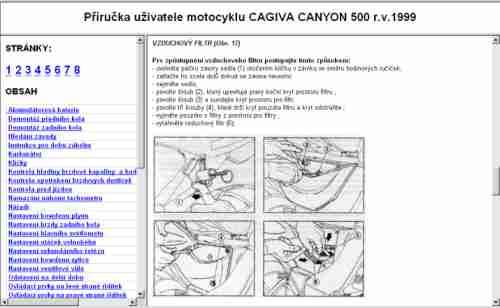 Příručka uživatele motocyklu Cagiva CANYON 500 r.v. 1999.